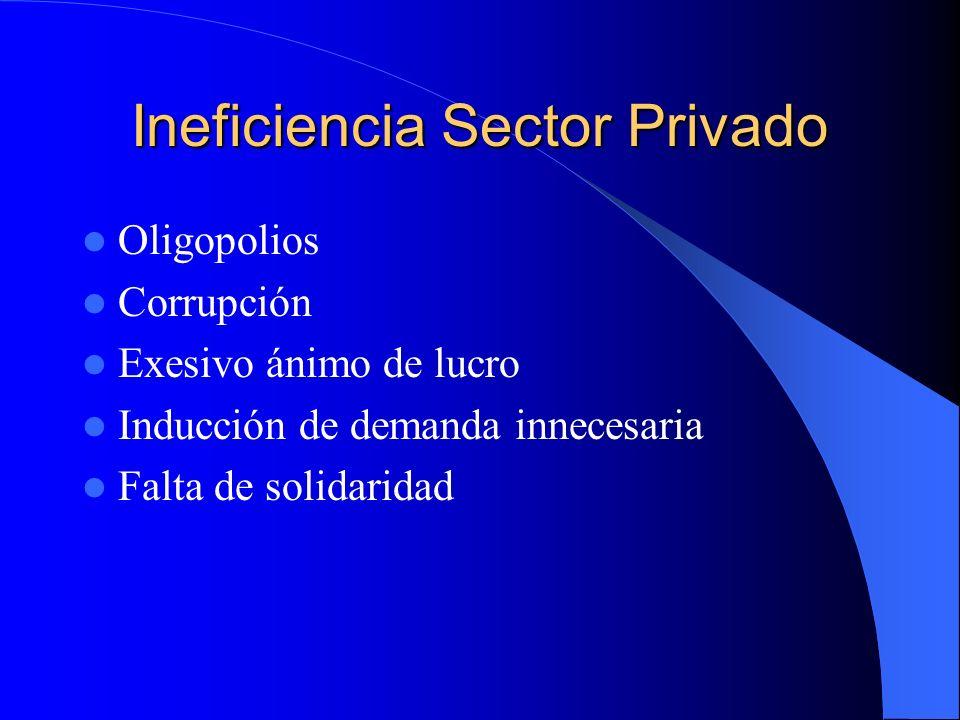 Ineficiencia Sector Privado Oligopolios Corrupción Exesivo ánimo de lucro Inducción de demanda innecesaria Falta de solidaridad