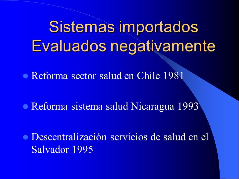 Sistemas importados Evaluados negativamente Reforma sector salud en Chile 1981 Reforma sistema salud Nicaragua 1993 Descentralización servicios de sal