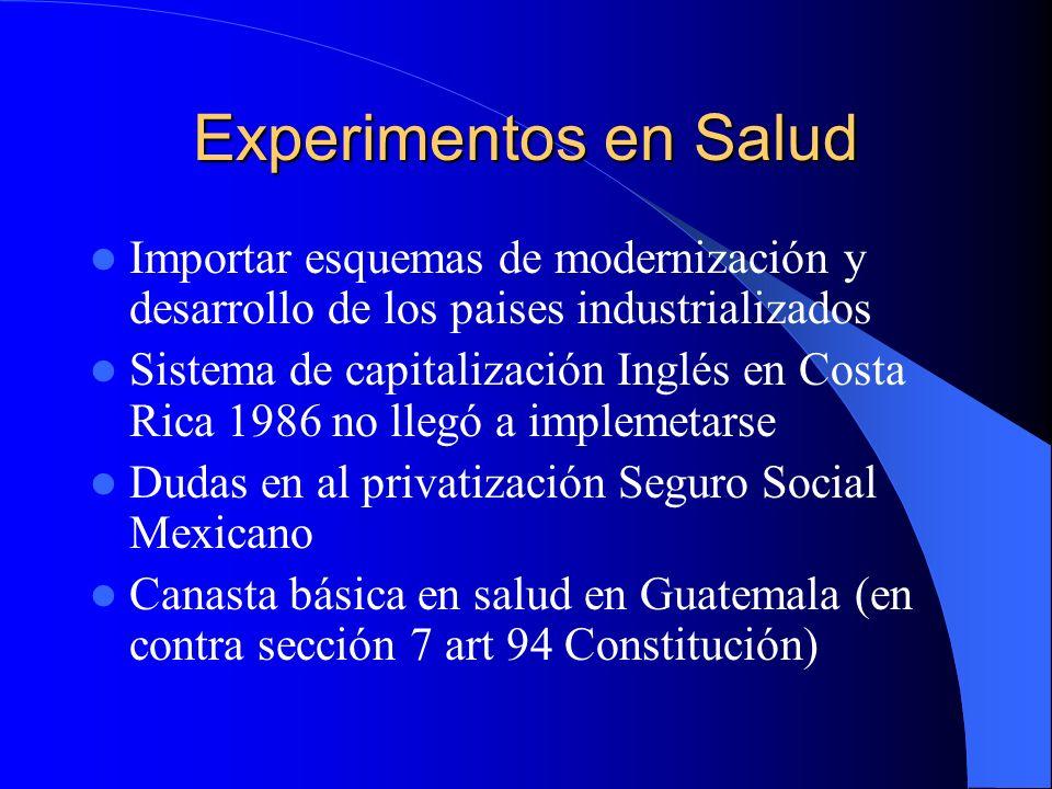 Experimentos en Salud Importar esquemas de modernización y desarrollo de los paises industrializados Sistema de capitalización Inglés en Costa Rica 19