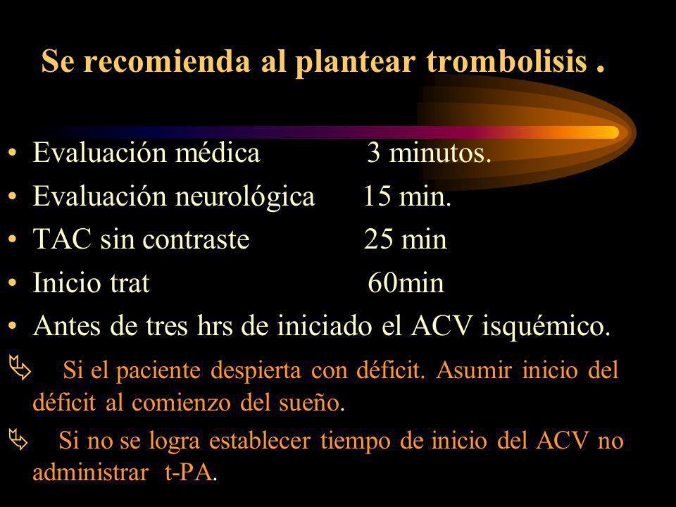 Trombolisis Activador Del Plasminogeno Tisular Recombinante ( rtPA) 3 nivel atención.