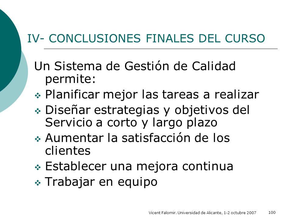 Vicent Falomir. Universidad de Alicante, 1-2 octubre 2007 100 IV- CONCLUSIONES FINALES DEL CURSO Un Sistema de Gestión de Calidad permite: Planificar