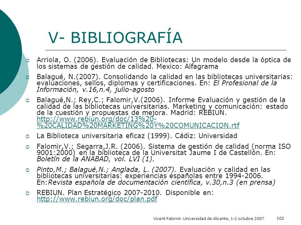 Vicent Falomir. Universidad de Alicante, 1-2 octubre 2007 102 V- BIBLIOGRAFÍA Arriola, O. (2006). Evaluación de Bibliotecas: Un modelo desde la óptica