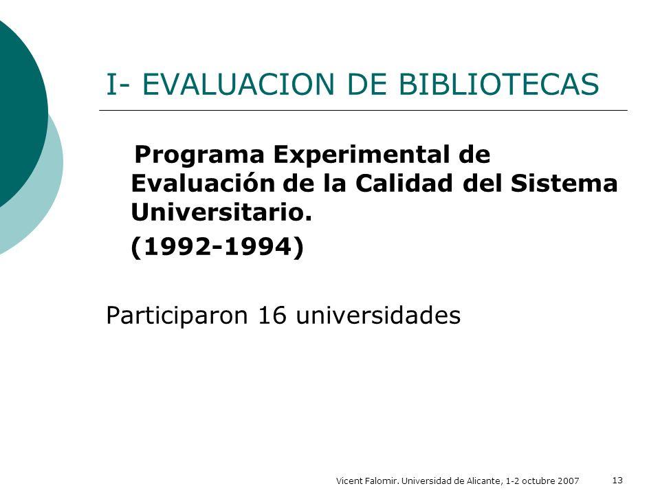 Vicent Falomir. Universidad de Alicante, 1-2 octubre 2007 13 I- EVALUACION DE BIBLIOTECAS Programa Experimental de Evaluación de la Calidad del Sistem