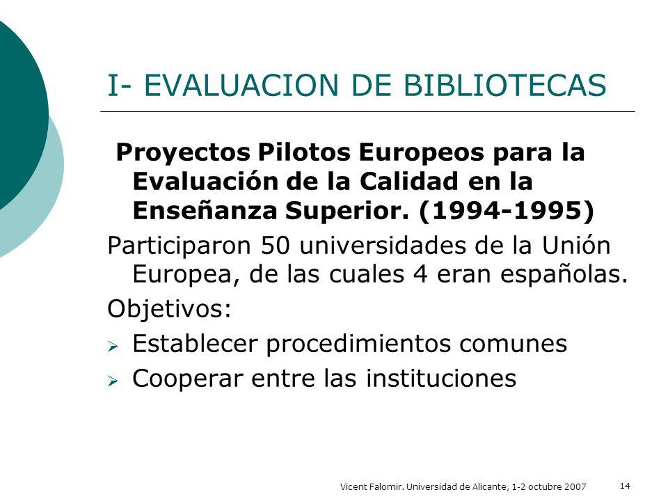 Vicent Falomir. Universidad de Alicante, 1-2 octubre 2007 14 I- EVALUACION DE BIBLIOTECAS Proyectos Pilotos Europeos para la Evaluación de la Calidad