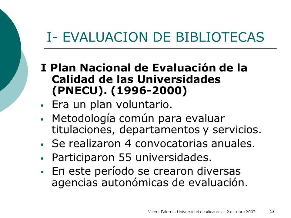 Vicent Falomir. Universidad de Alicante, 1-2 octubre 2007 15 I- EVALUACION DE BIBLIOTECAS I Plan Nacional de Evaluación de la Calidad de las Universid