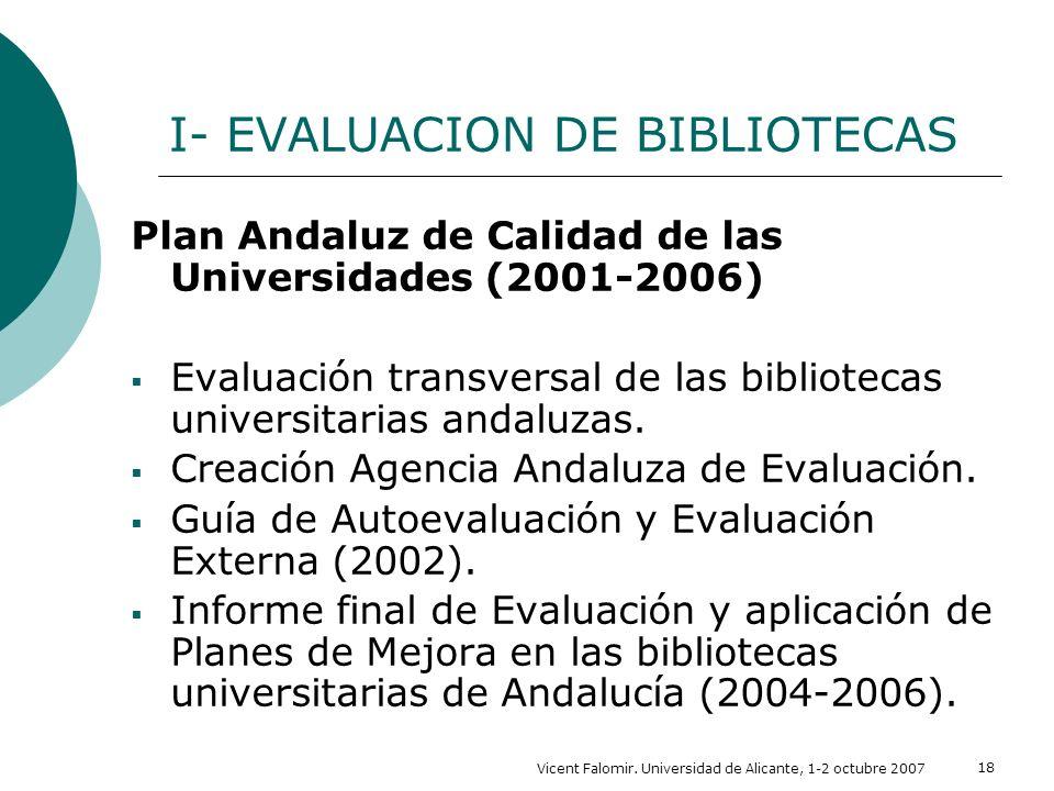 Vicent Falomir. Universidad de Alicante, 1-2 octubre 2007 18 I- EVALUACION DE BIBLIOTECAS Plan Andaluz de Calidad de las Universidades (2001-2006) Eva
