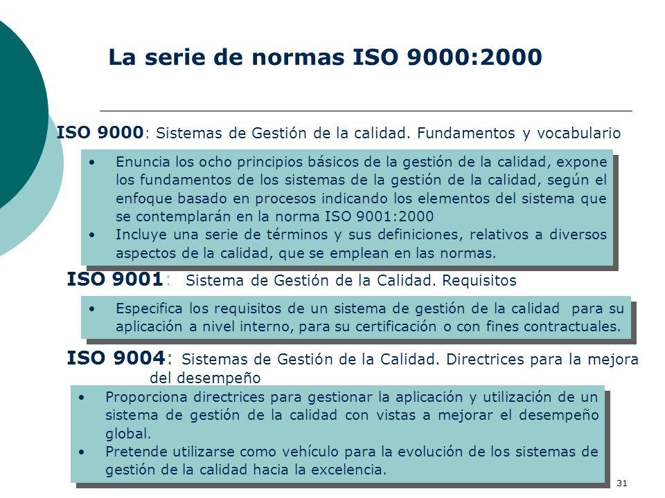 Vicent Falomir. Universidad de Alicante, 1-2 octubre 2007 31 La serie de normas ISO 9000:2000 ISO 9004: Sistemas de Gestión de la Calidad. Directrices