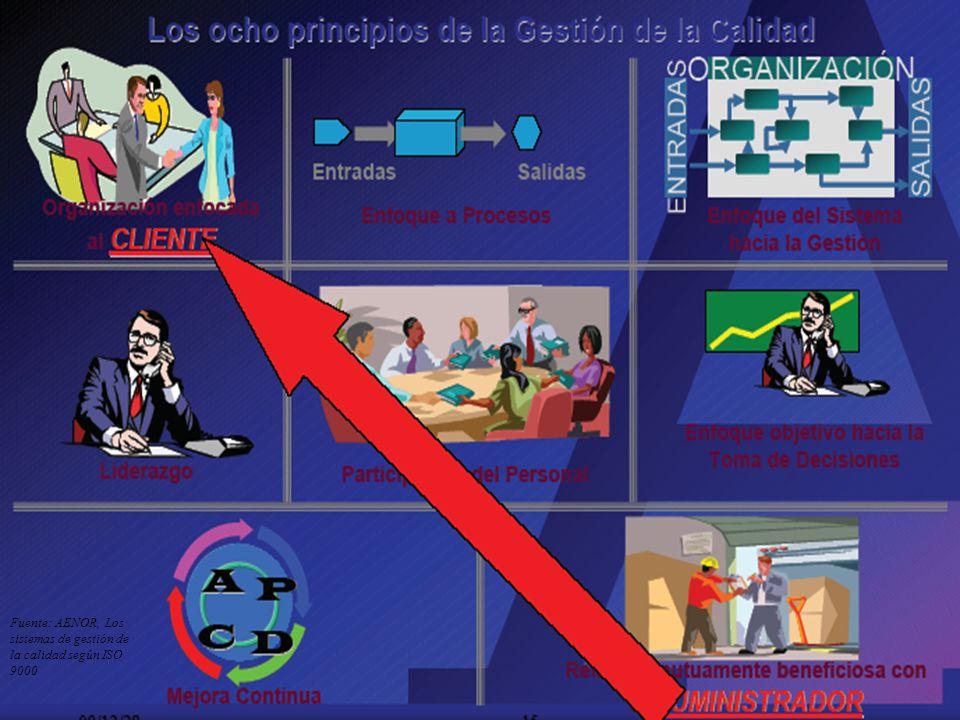 Vicent Falomir. Universidad de Alicante, 1-2 octubre 2007 34 Fuente: AENOR, Los sistemas de gestión de la calidad según ISO 9000