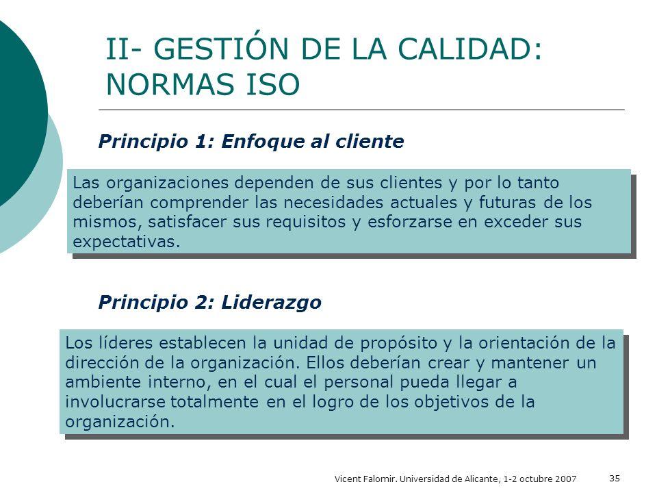 Vicent Falomir. Universidad de Alicante, 1-2 octubre 2007 35 II- GESTIÓN DE LA CALIDAD: NORMAS ISO Las organizaciones dependen de sus clientes y por l