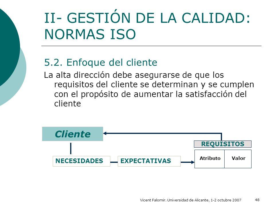 Vicent Falomir. Universidad de Alicante, 1-2 octubre 2007 48 5.2. Enfoque del cliente La alta dirección debe asegurarse de que los requisitos del clie