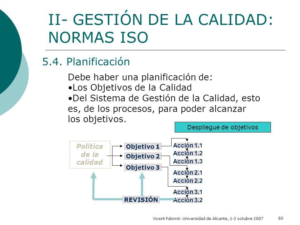 Vicent Falomir. Universidad de Alicante, 1-2 octubre 2007 50 5.4. Planificación II- GESTIÓN DE LA CALIDAD: NORMAS ISO Debe haber una planificación de: