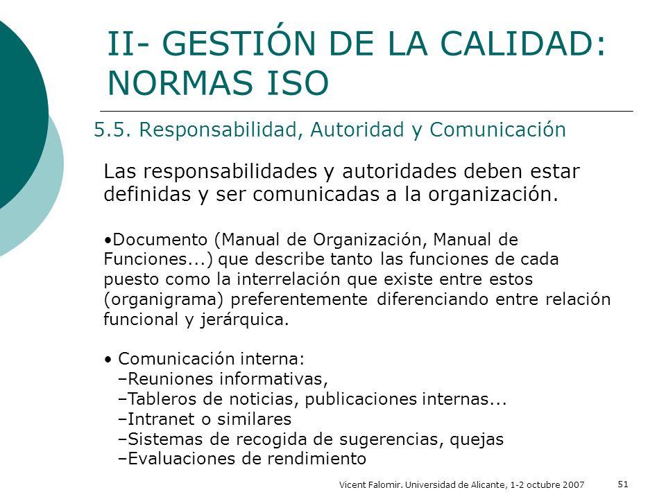Vicent Falomir. Universidad de Alicante, 1-2 octubre 2007 51 5.5. Responsabilidad, Autoridad y Comunicación II- GESTIÓN DE LA CALIDAD: NORMAS ISO Las