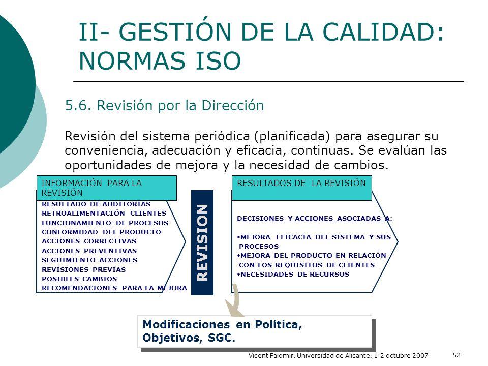 Vicent Falomir. Universidad de Alicante, 1-2 octubre 2007 52 II- GESTIÓN DE LA CALIDAD: NORMAS ISO 5.6. Revisión por la Dirección Revisión del sistema