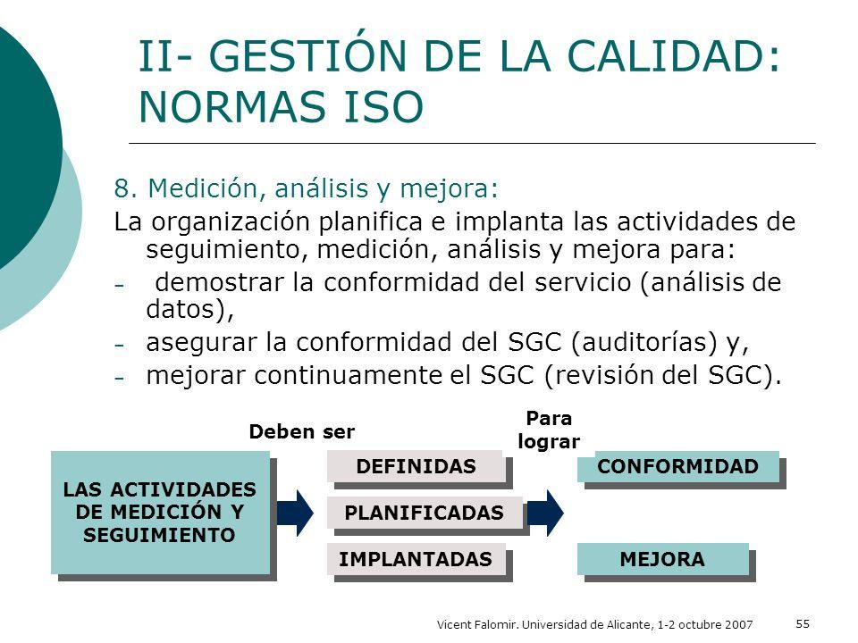 Vicent Falomir. Universidad de Alicante, 1-2 octubre 2007 55 8. Medición, análisis y mejora: La organización planifica e implanta las actividades de s