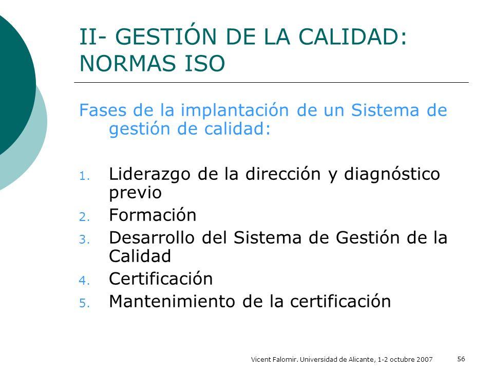 Vicent Falomir. Universidad de Alicante, 1-2 octubre 2007 56 Fases de la implantación de un Sistema de gestión de calidad: 1. Liderazgo de la direcció