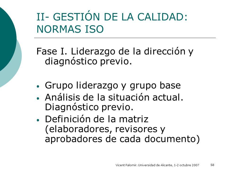 Vicent Falomir. Universidad de Alicante, 1-2 octubre 2007 58 II- GESTIÓN DE LA CALIDAD: NORMAS ISO Fase I. Liderazgo de la dirección y diagnóstico pre