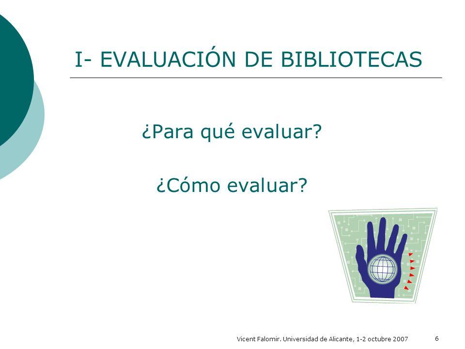 Vicent Falomir. Universidad de Alicante, 1-2 octubre 2007 6 I- EVALUACIÓN DE BIBLIOTECAS ¿Para qué evaluar? ¿Cómo evaluar?