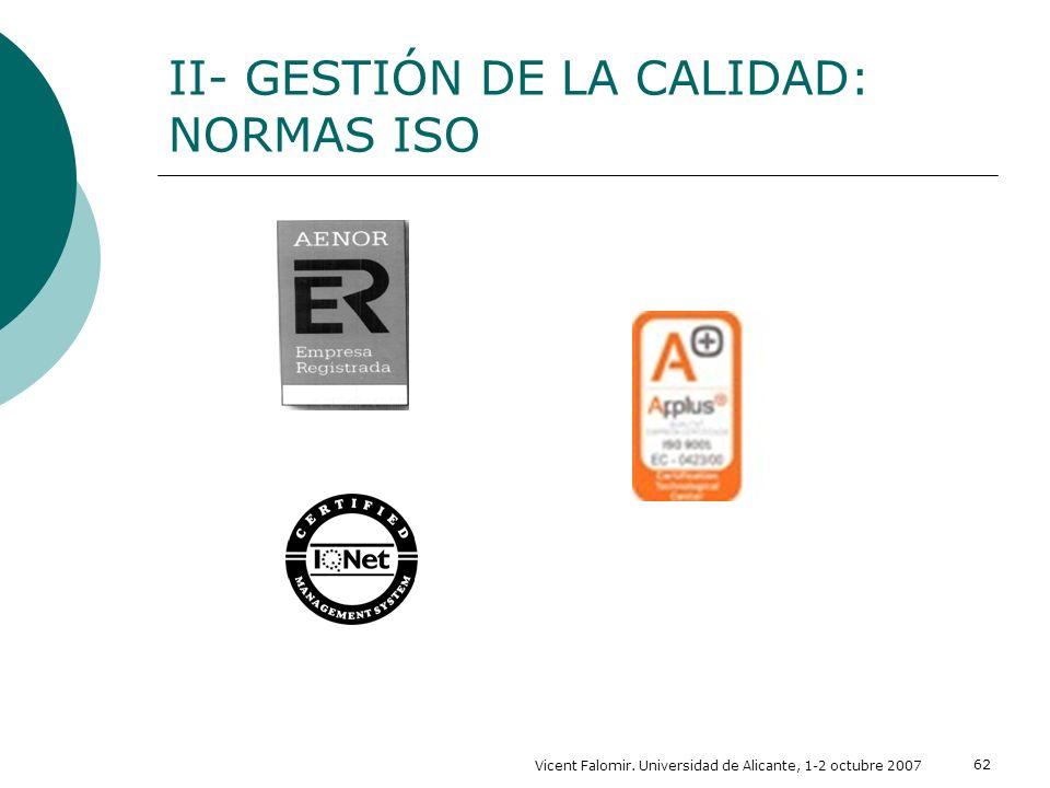 Vicent Falomir. Universidad de Alicante, 1-2 octubre 2007 62 II- GESTIÓN DE LA CALIDAD: NORMAS ISO