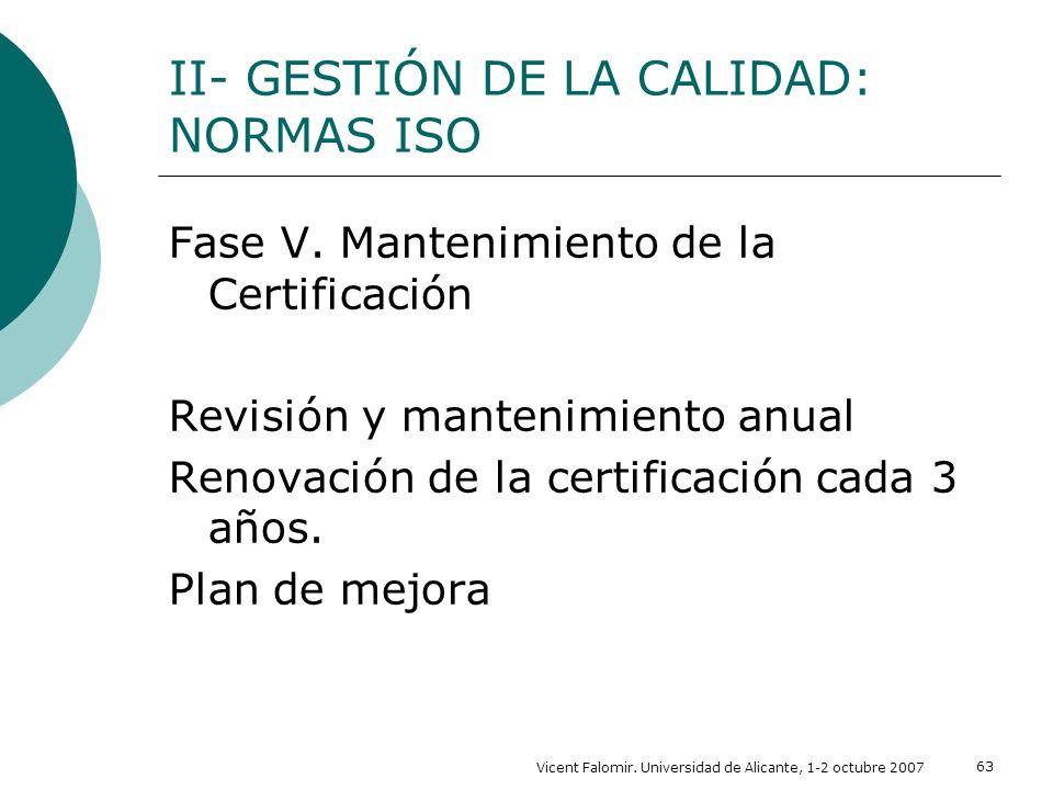 Vicent Falomir. Universidad de Alicante, 1-2 octubre 2007 63 II- GESTIÓN DE LA CALIDAD: NORMAS ISO Fase V. Mantenimiento de la Certificación Revisión