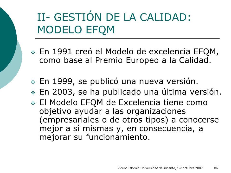 Vicent Falomir. Universidad de Alicante, 1-2 octubre 2007 65 II- GESTIÓN DE LA CALIDAD: MODELO EFQM En 1991 creó el Modelo de excelencia EFQM, como ba