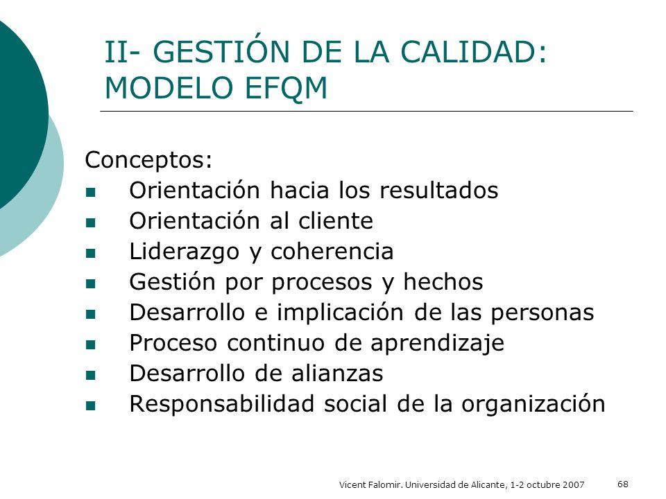 Vicent Falomir. Universidad de Alicante, 1-2 octubre 2007 68 Conceptos: Orientación hacia los resultados Orientación al cliente Liderazgo y coherencia