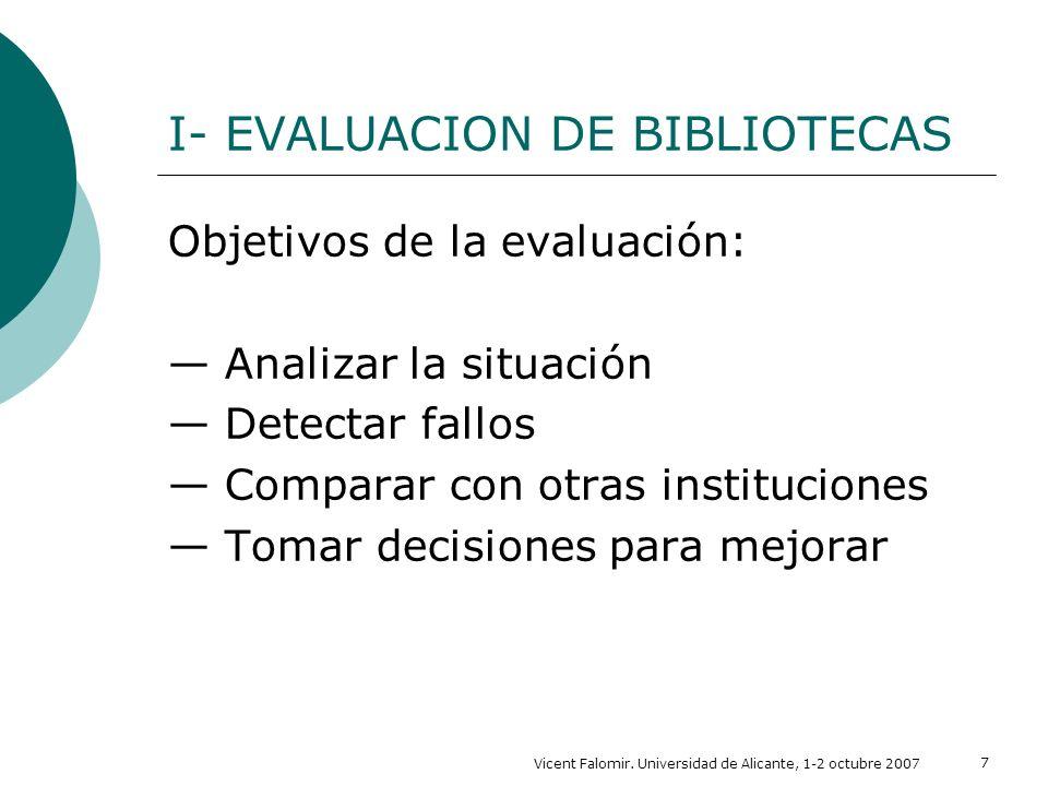 Vicent Falomir. Universidad de Alicante, 1-2 octubre 2007 7 I- EVALUACION DE BIBLIOTECAS Objetivos de la evaluación: Analizar la situación Detectar fa