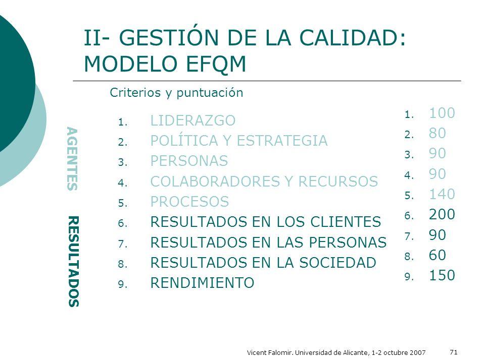 Vicent Falomir. Universidad de Alicante, 1-2 octubre 2007 71 1. LIDERAZGO 2. POLÍTICA Y ESTRATEGIA 3. PERSONAS 4. COLABORADORES Y RECURSOS 5. PROCESOS
