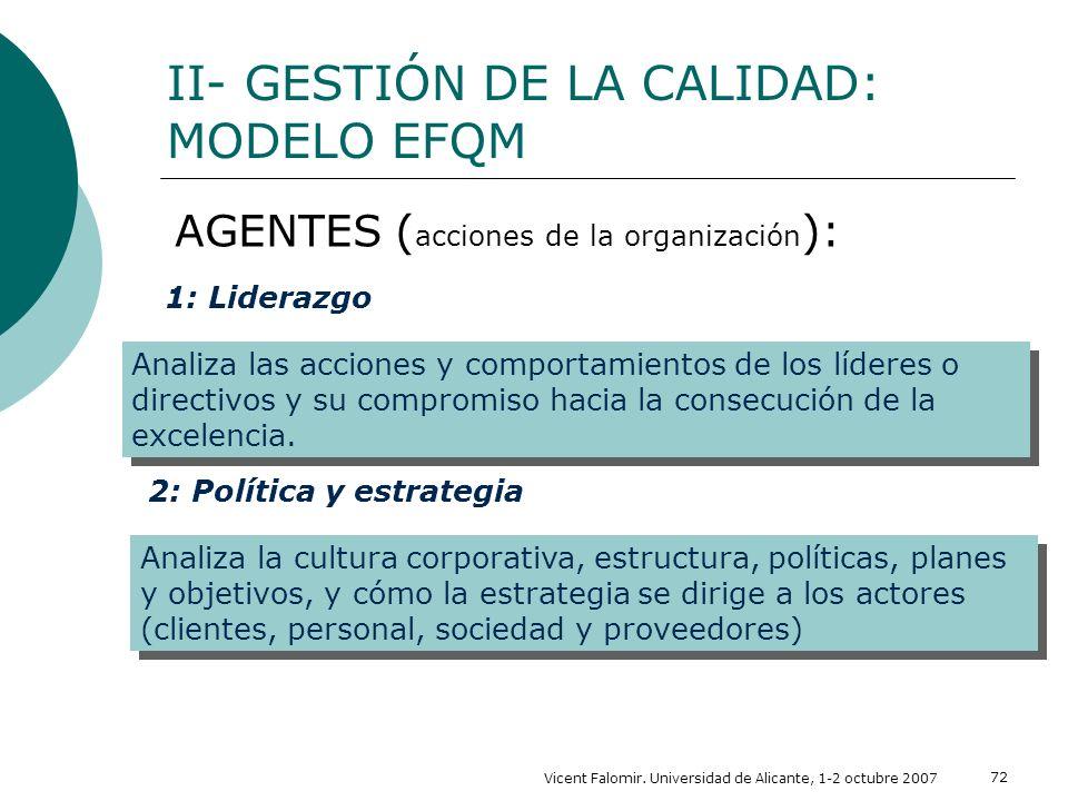 Vicent Falomir. Universidad de Alicante, 1-2 octubre 2007 72 AGENTES ( acciones de la organización ): II- GESTIÓN DE LA CALIDAD: MODELO EFQM Analiza l