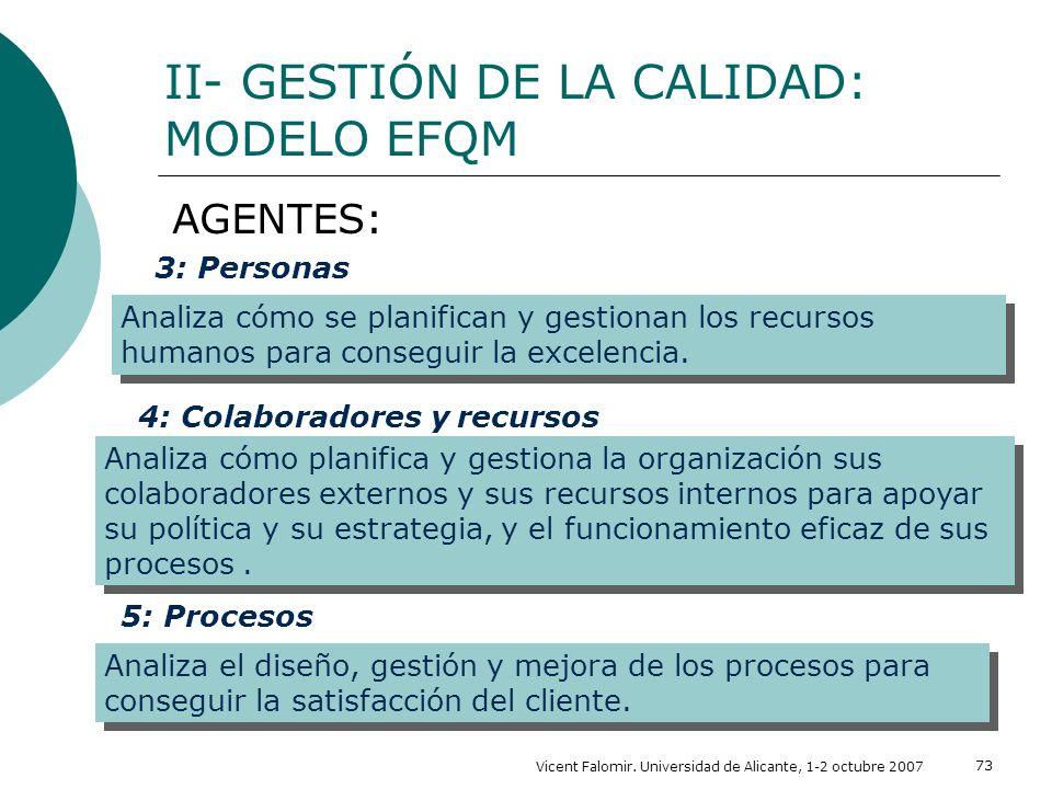 Vicent Falomir. Universidad de Alicante, 1-2 octubre 2007 73 II- GESTIÓN DE LA CALIDAD: MODELO EFQM AGENTES: 3: Personas Analiza cómo se planifican y