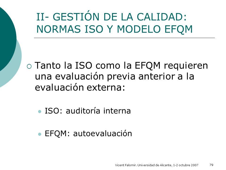 Vicent Falomir. Universidad de Alicante, 1-2 octubre 2007 79 Tanto la ISO como la EFQM requieren una evaluación previa anterior a la evaluación extern
