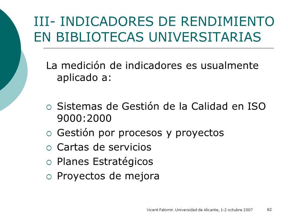 Vicent Falomir. Universidad de Alicante, 1-2 octubre 2007 82 III- INDICADORES DE RENDIMIENTO EN BIBLIOTECAS UNIVERSITARIAS La medición de indicadores