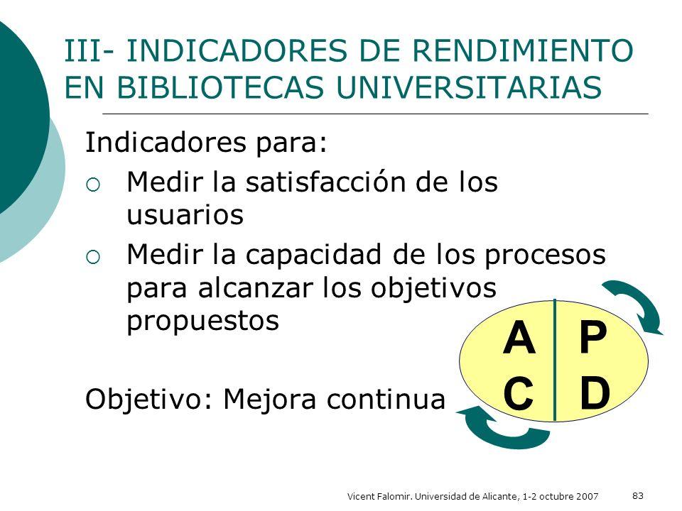 Vicent Falomir. Universidad de Alicante, 1-2 octubre 2007 83 III- INDICADORES DE RENDIMIENTO EN BIBLIOTECAS UNIVERSITARIAS Indicadores para: Medir la