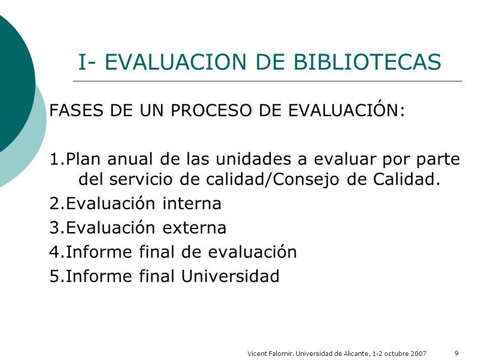 Vicent Falomir. Universidad de Alicante, 1-2 octubre 2007 9 I- EVALUACION DE BIBLIOTECAS FASES DE UN PROCESO DE EVALUACIÓN: 1.Plan anual de las unidad