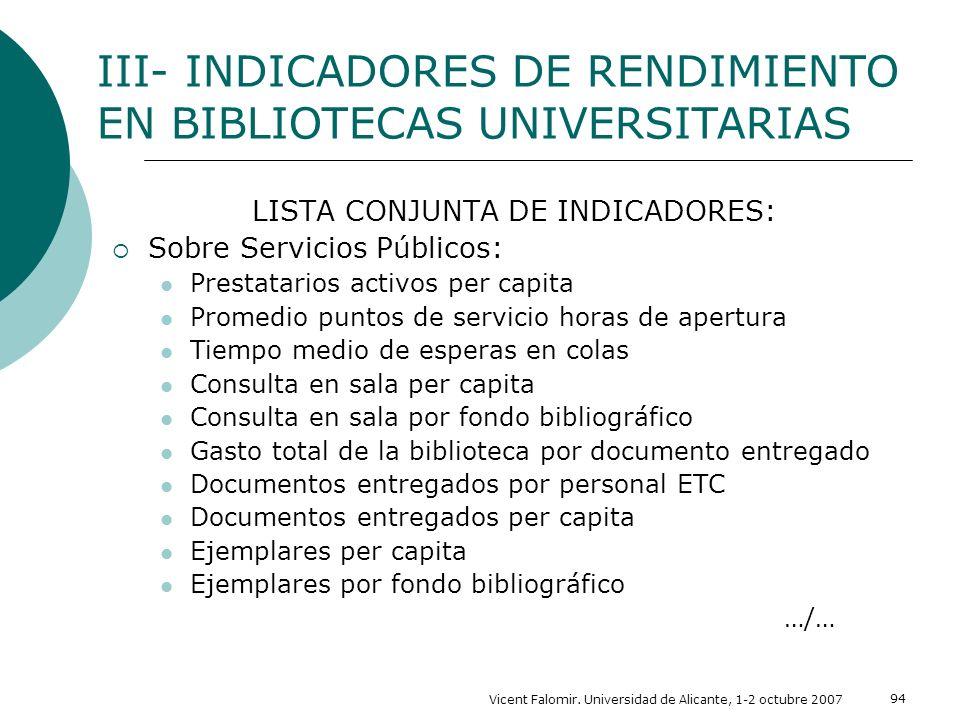 Vicent Falomir. Universidad de Alicante, 1-2 octubre 2007 94 LISTA CONJUNTA DE INDICADORES: Sobre Servicios Públicos: Prestatarios activos per capita