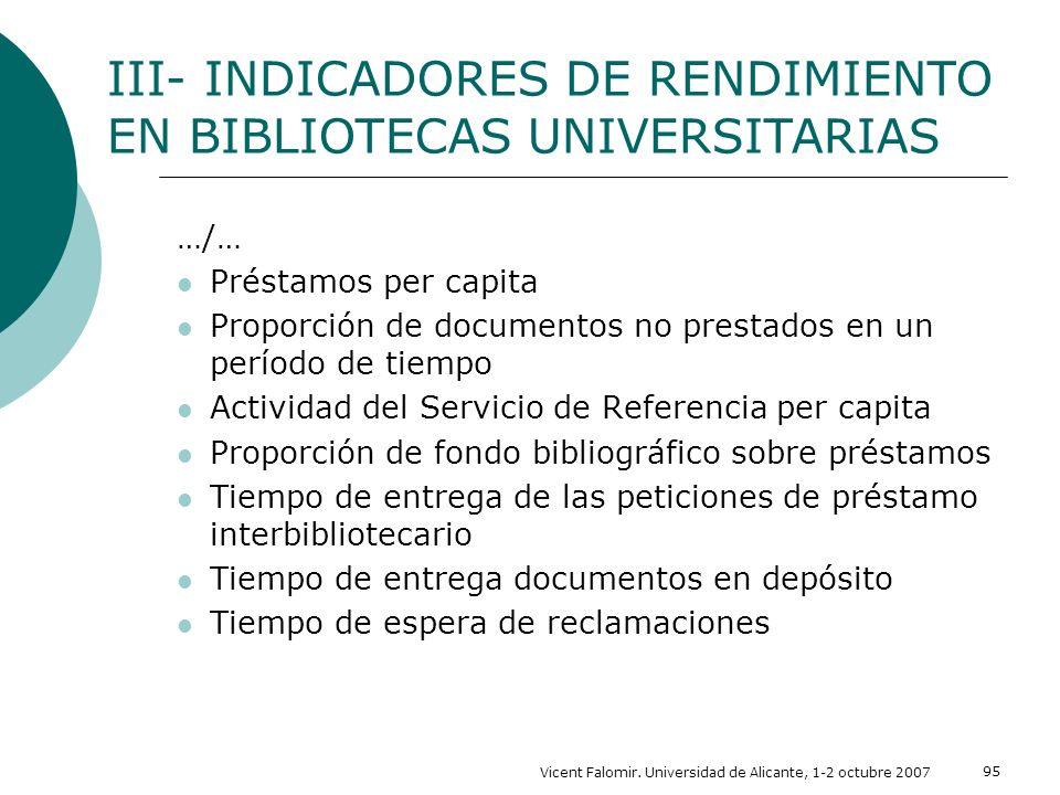 Vicent Falomir. Universidad de Alicante, 1-2 octubre 2007 95 …/… Préstamos per capita Proporción de documentos no prestados en un período de tiempo Ac