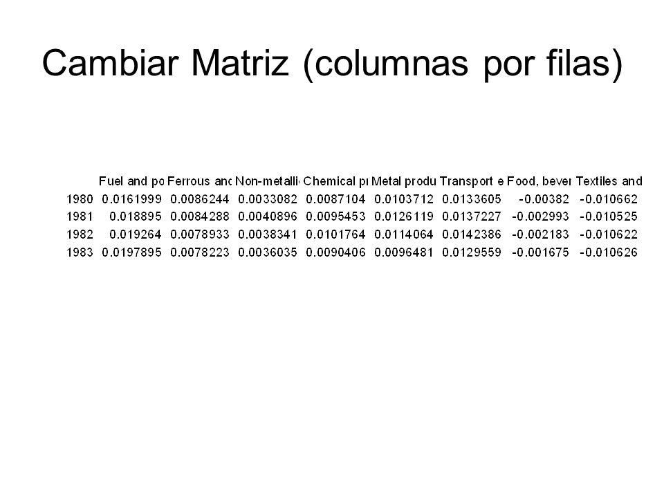 Cambiar Matriz (columnas por filas)