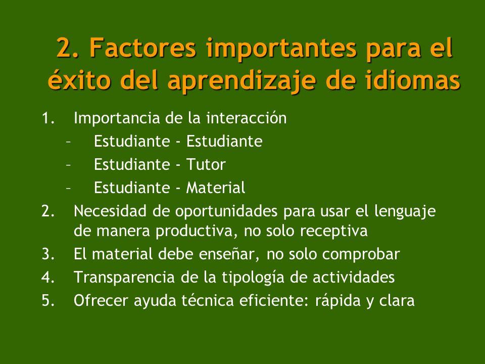 2. Factores importantes para el éxito del aprendizaje de idiomas 1.Importancia de la interacción –Estudiante - Estudiante –Estudiante - Tutor –Estudia