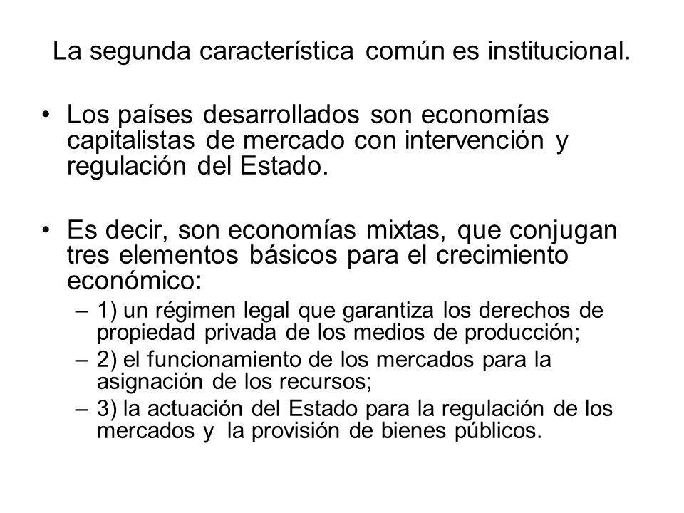 La segunda característica común es institucional. Los países desarrollados son economías capitalistas de mercado con intervención y regulación del Est