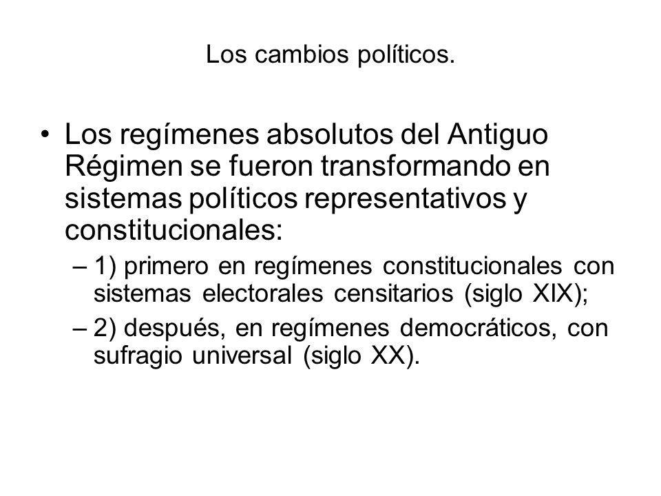 Los cambios políticos. Los regímenes absolutos del Antiguo Régimen se fueron transformando en sistemas políticos representativos y constitucionales: –