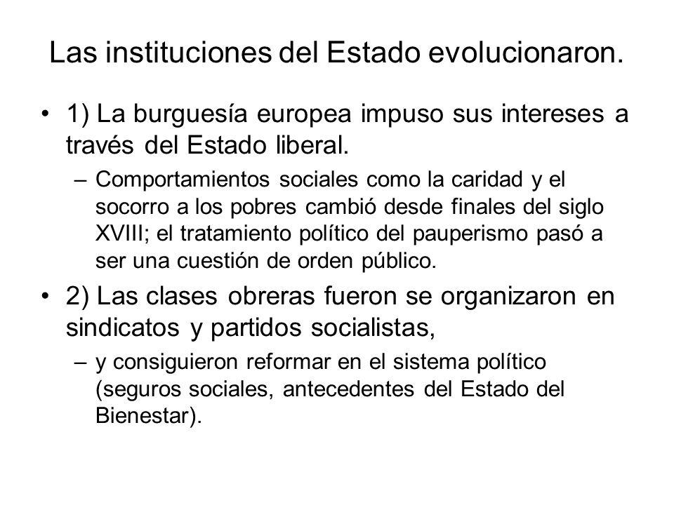 Las instituciones del Estado evolucionaron. 1) La burguesía europea impuso sus intereses a través del Estado liberal. –Comportamientos sociales como l
