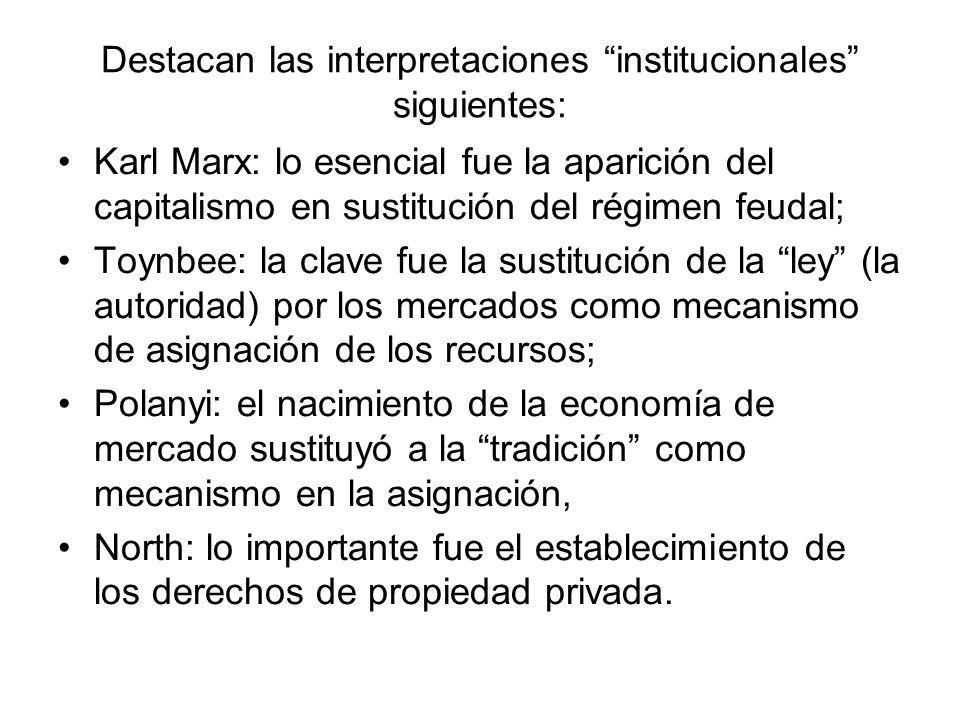 Destacan las interpretaciones institucionales siguientes: Karl Marx: lo esencial fue la aparición del capitalismo en sustitución del régimen feudal; T
