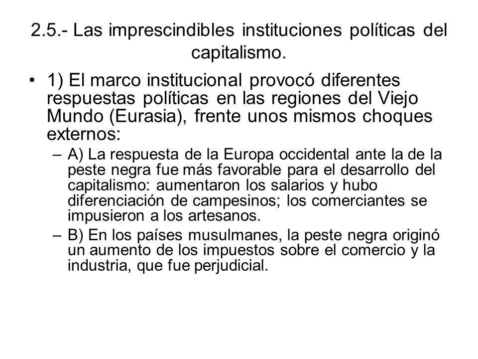 2.5.- Las imprescindibles instituciones políticas del capitalismo. 1) El marco institucional provocó diferentes respuestas políticas en las regiones d