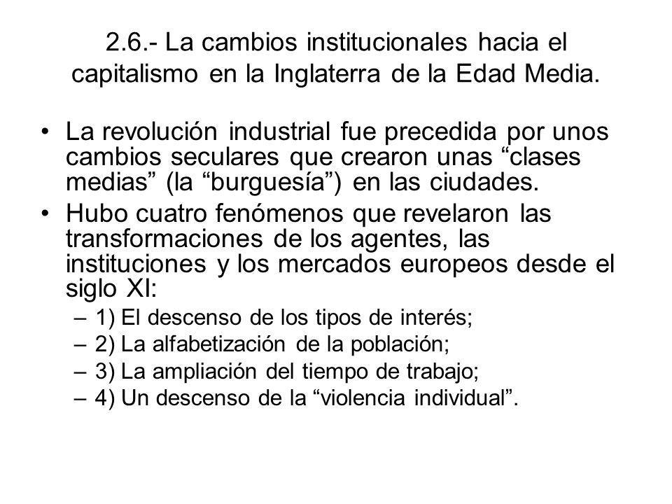 2.6.- La cambios institucionales hacia el capitalismo en la Inglaterra de la Edad Media. La revolución industrial fue precedida por unos cambios secul