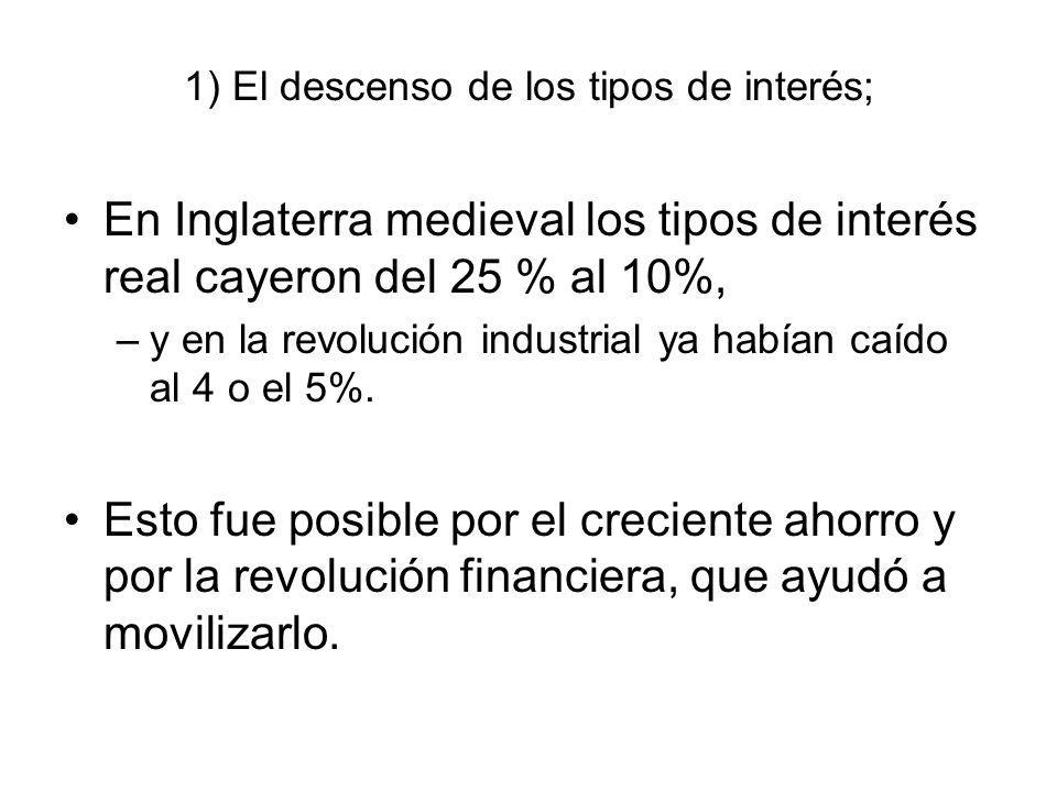 1) El descenso de los tipos de interés; En Inglaterra medieval los tipos de interés real cayeron del 25 % al 10%, –y en la revolución industrial ya ha