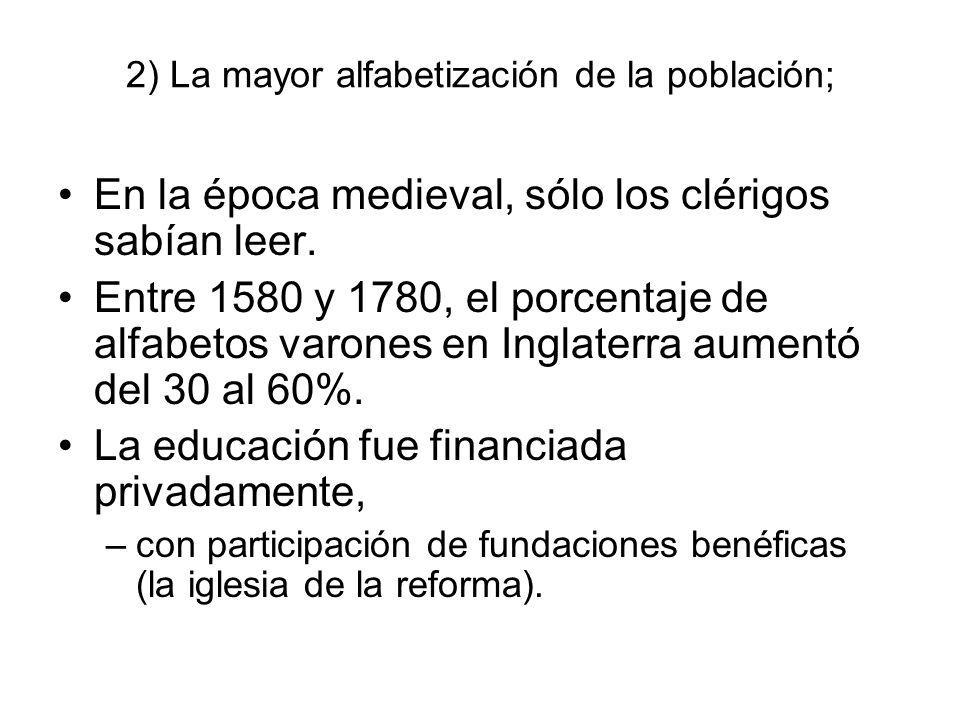 2) La mayor alfabetización de la población; En la época medieval, sólo los clérigos sabían leer. Entre 1580 y 1780, el porcentaje de alfabetos varones