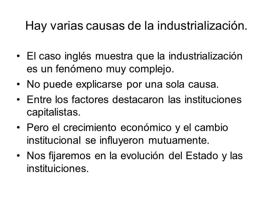Hay varias causas de la industrialización. El caso inglés muestra que la industrialización es un fenómeno muy complejo. No puede explicarse por una so