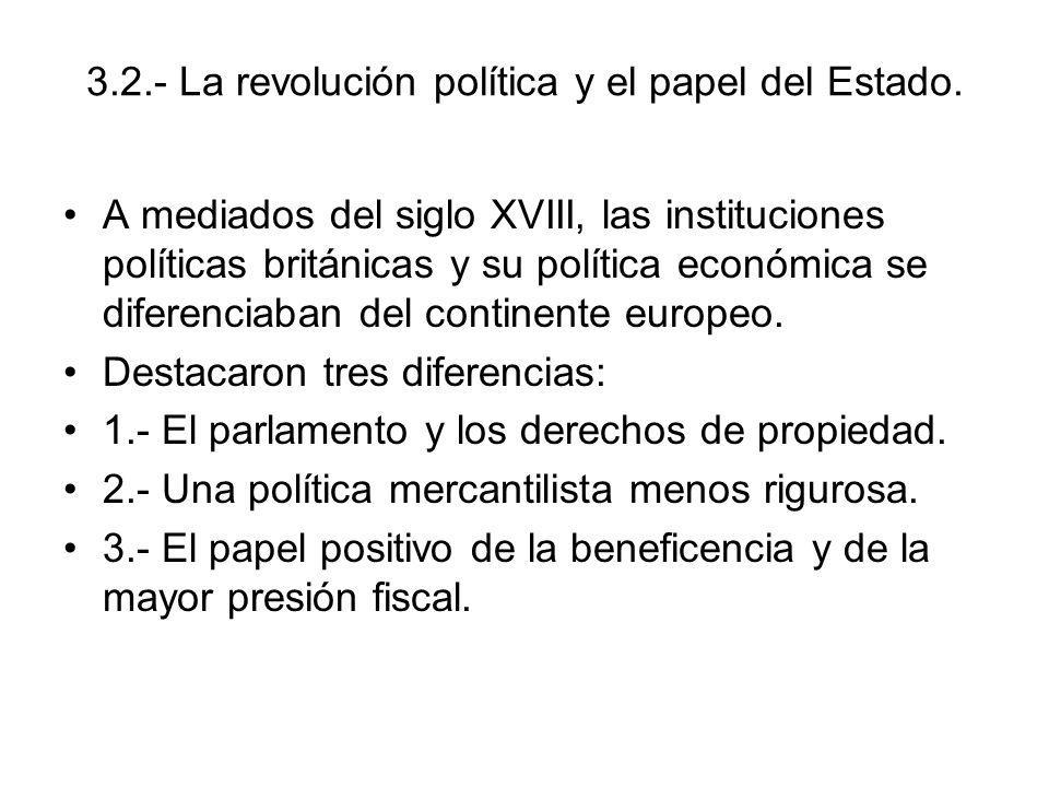 3.2.- La revolución política y el papel del Estado. A mediados del siglo XVIII, las instituciones políticas británicas y su política económica se dife