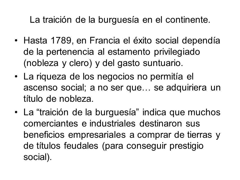 La traición de la burguesía en el continente. Hasta 1789, en Francia el éxito social dependía de la pertenencia al estamento privilegiado (nobleza y c