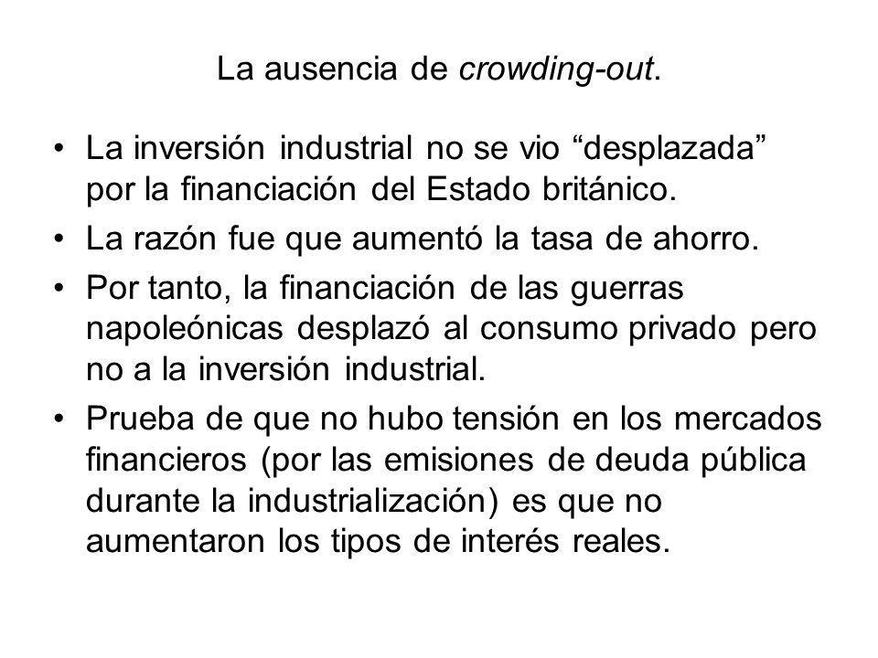 La ausencia de crowding-out. La inversión industrial no se vio desplazada por la financiación del Estado británico. La razón fue que aumentó la tasa d