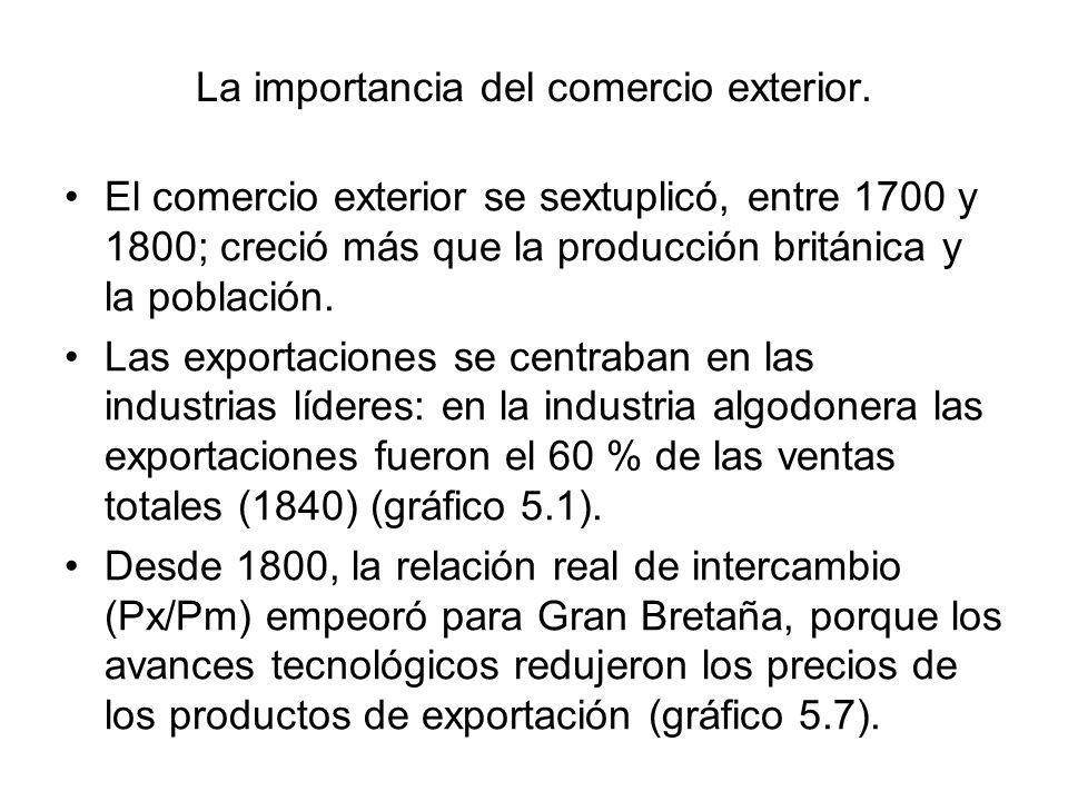 La importancia del comercio exterior. El comercio exterior se sextuplicó, entre 1700 y 1800; creció más que la producción británica y la población. La